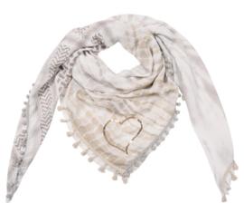 Sjaal met 4 prints in beige/taupe