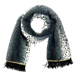 Superzachte wintersjaal met luipaardprintje in zwart/wit/grijs
