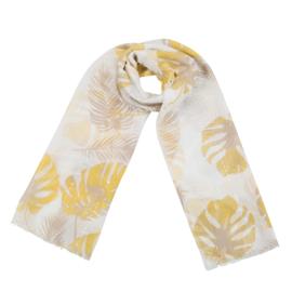 Sjaal met bladprint in wit/oker/taupe