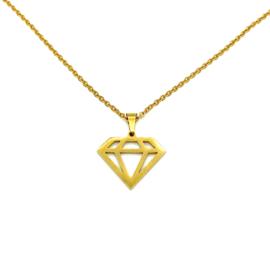 Stainless steel halsketting in goud | Diamant