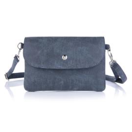 Handtas met structuur in jeansblauw