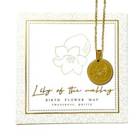 Stainless steel halsketting in goud | Birth Flower | MEI