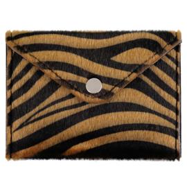 Miniportemonnee met zebraprint in cognac/zwart