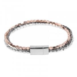 Armband in zwart/zilver- en roségoudkleur | Italy
