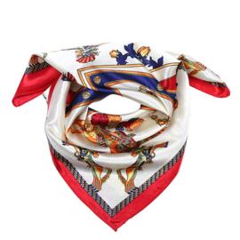 Sjaal met paardenprint in ecru/rood/donkerblauw