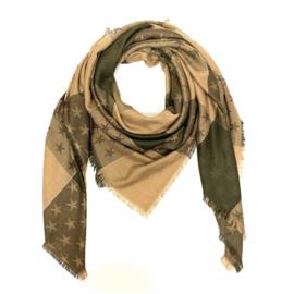 Sjaal met sterprint in camel/kaki