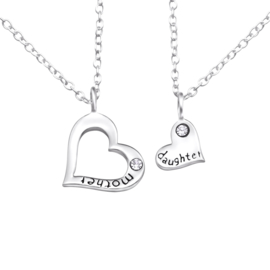 925 zilver halskettingen | Mother & Daughter | Diamonds | 2 stuks