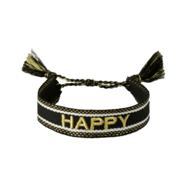 Geweven armbandje in zwart/goud | HAPPY