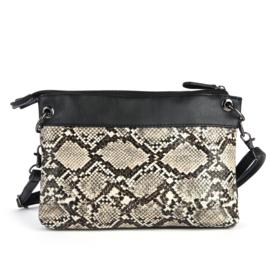 Handtas met slangenprint in zwart/ecru