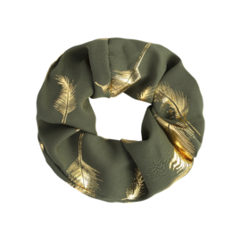 Scrunchie in kaki/goud 'Feathers'