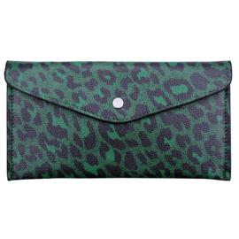 Portemonnee 'Envelop' met leopardprint in groen/zwart
