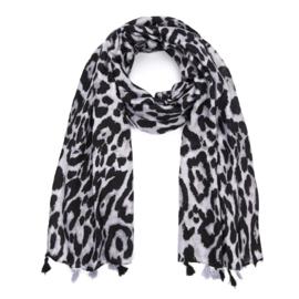Sjaal met luipaardprint in grijs/zwart