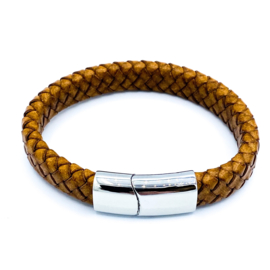 Lederen herenarmband met RVS slot in cognac (12mm)