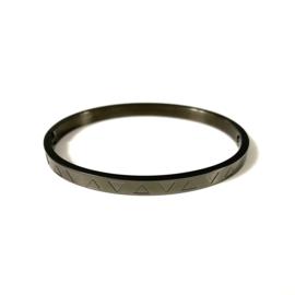 Stainless steel bangle in zwart | Upside Down