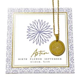 Stainless steel halsketting in goud | Birth Flower | SEPTEMBER