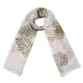 Sjaal met bladprint in wit/kaki