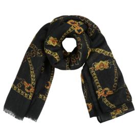 Sjaal met kettingprint in zwart/oker