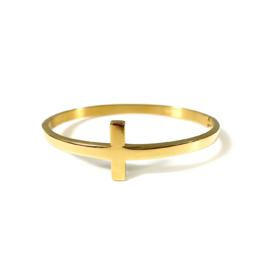 Stainless steel bangle in goud | Cross