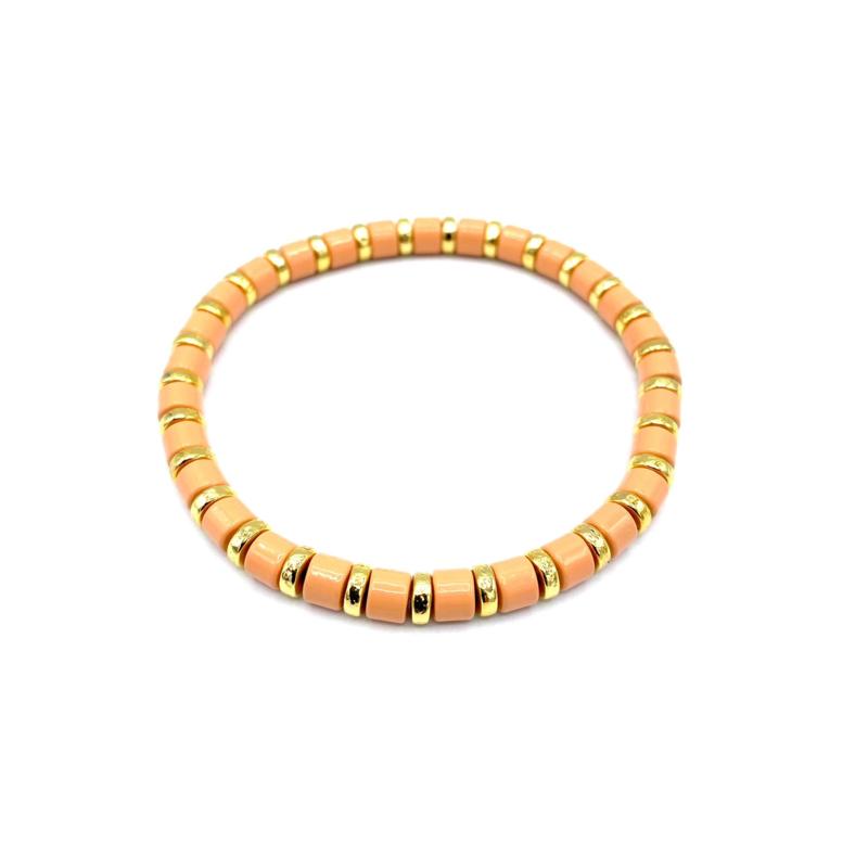 Armbandje goud/zalmroos