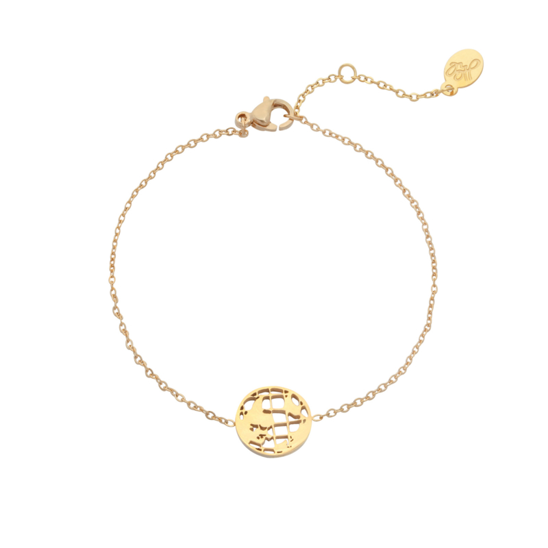 Stainless steel armbandje in goud   Globe