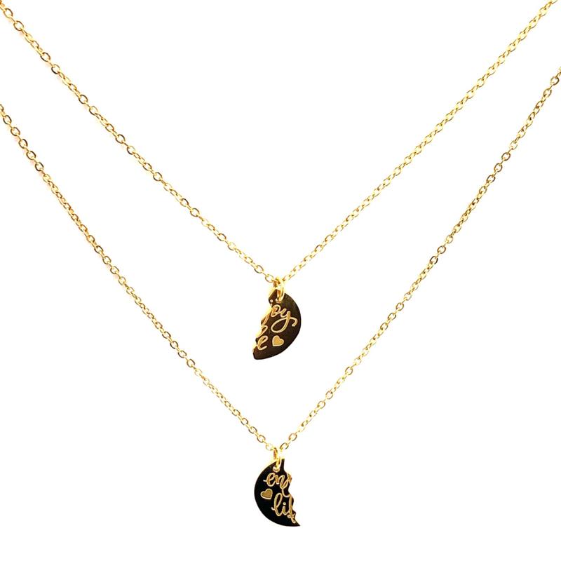 Halskettingen 'ENJOY LIFE' in goud (2 stuks)