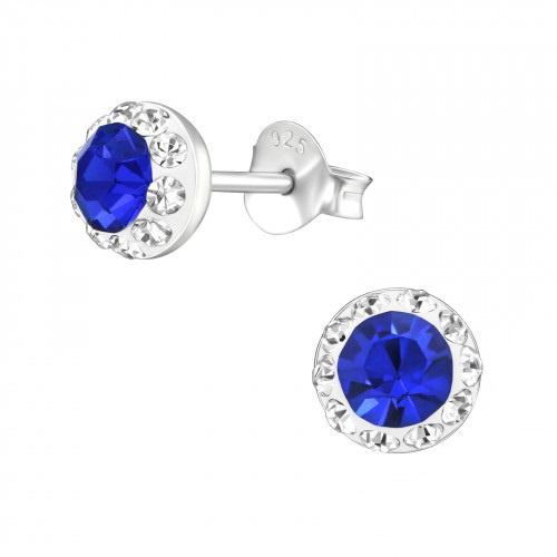 Oorstekers in 925 zilver 'Blue Diamond'