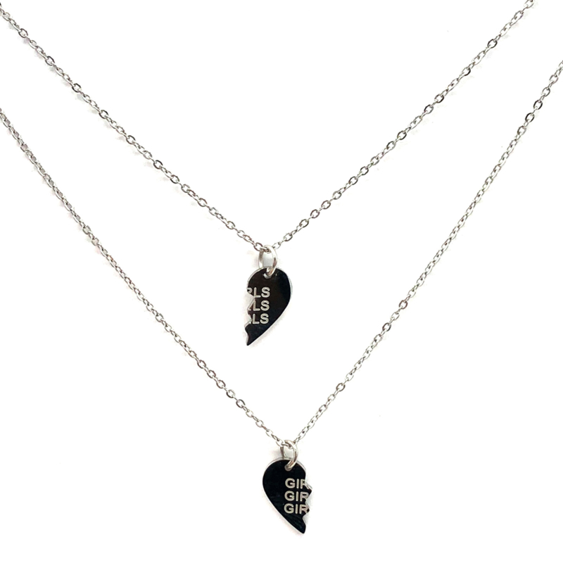 Halskettingen 'GIRLS GIRLS GIRLS' in zilver (2 stuks)