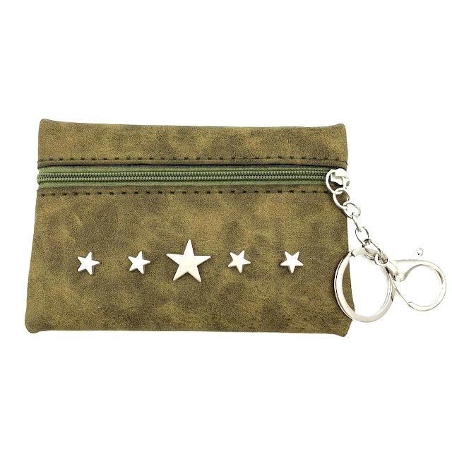 Kleine portemonnee met sterren in kaki