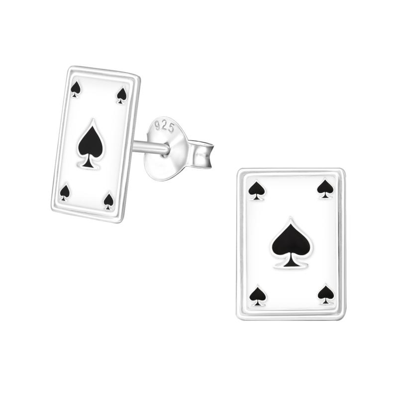 Oorstekers in 925 zilver 'Speelkaart'