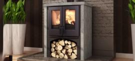 Nordic fire Lodge met houtvak en speksteen