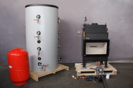 Basis - Voorverwarming - 500L combi buffertank + cv-haard + cv ketel