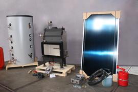 Voorverwarming - 500L combi buffertank + cv-haard + zonneboiler + cv ketel