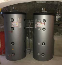 Voorverwarming - 2 x 300L geschakeld - combi buffertank + cv-haard + cv ketel
