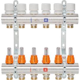 Messing vloerverwarming verdeel blok met flowmeters