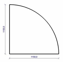 Vloerplaat hoek rond zwart staal 115 x 115