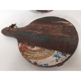 Snijplank gerecycled hout rond 30x45