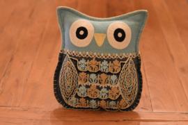 Uilenkussen Handmade  Grijs / Blauw | OnlyNatural