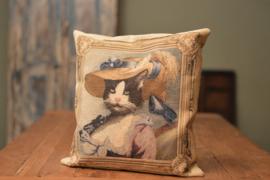 Kussen kat Chique | Kat met hoed.