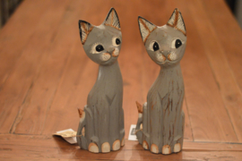 Cat sweet sitting | Houten kat grijs, zittend model | Varios