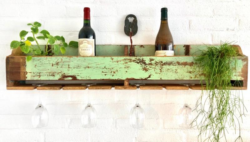 Wijnrek hout voor aan de muur No Colour | Otentic Design