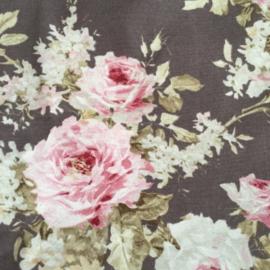Shopper XL Taupe met rose roos