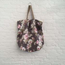 Shopper XL Taupe met rose roos