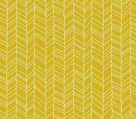 Oker geel met witte lijnen