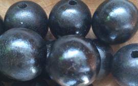 Houten kraal  Zwart 20 mm