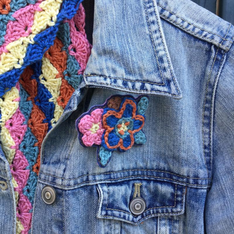 Gehaakt sjaaltje vintage kleurtjes