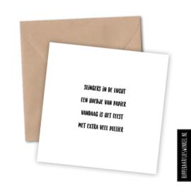 Wenskaart enkel met kraft envelop 'Feest' per 5 stuks