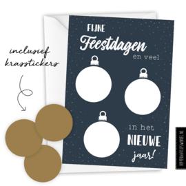 Kerstkaart kraskaart DIY inclusief envelop - per 5 stuks blauw/ goud
