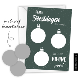 Kerstkaart kraskaart DIY inclusief envelop - per 5 stuks groen/ zilver