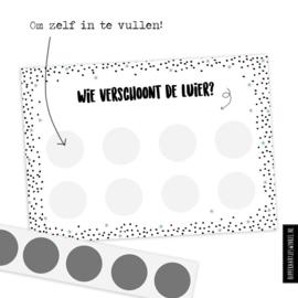 """Kraskaart XL """"Luier verschonen"""" DIY - per 5 stuks"""