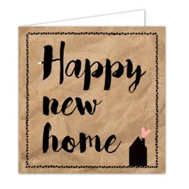 """Wenskaarten met witte envelop """"New home"""" 5 stuks"""